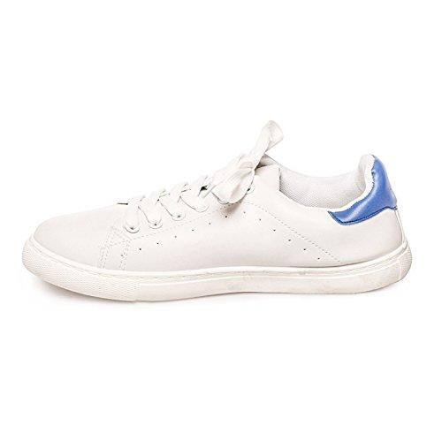 La Modeuse Baskets Aspect Cuir avec Lacets Bleu