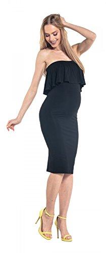 Happy Mama. Damen Umstands Stretch Midi Kleid trägerlos Bleistiftkleid. 571p Schwarz