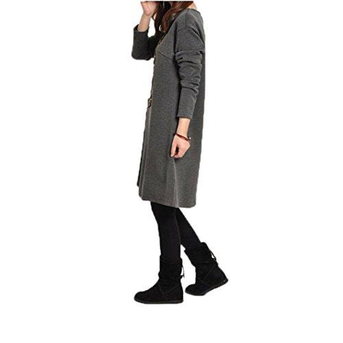 Amlaiworld Femmes Automne hiver Robe lâche avec poche Gris