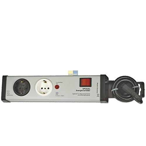 Europart 305320 Kombi-Sicherungs-Schutz Energieverteiler Doppelsteckdose Stromleiste 2fach-Steckdose Strom Anschluss speziell für Waschmaschine und Wäschetrockner -