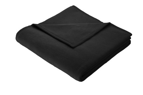 Biederlack Wohn- und Kuscheldecke, 60% Baumwolle, Veloursband-Einfassung, 150 x 200 cm, Schwarz, Orion Cotton, 239954 (3x5 Wolldecke, Die)