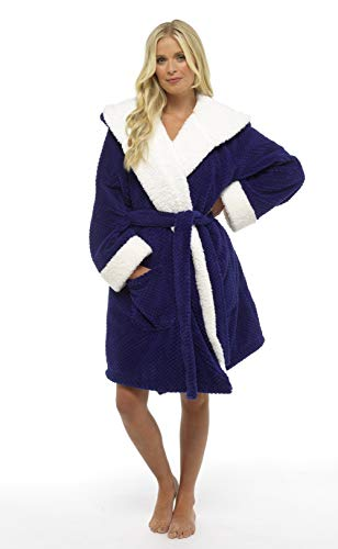 CityComfort Luxury Dressing Gown for Ladies Super Soft Fleece Bathrobe (M, Navy Waffle)
