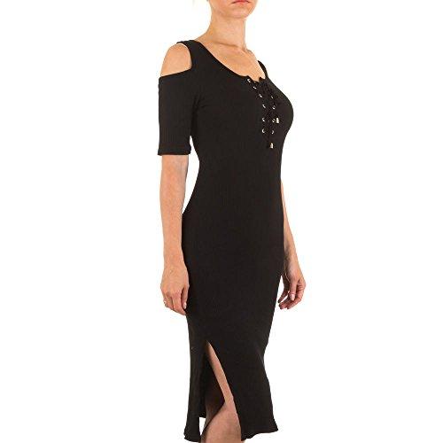 Damen Kleid, SCHULTERFREIES STRETCH, KL-J135 Schwarz