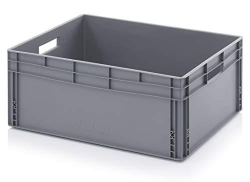 130 litros 80 x 60 x 32 cm Euro. Cajas de almacenamiento de plástico resistente, color gris (800 x 600 x 320 mm)