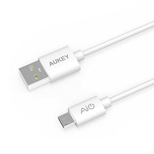 AUKEY Cable USB a Micro USB 5 Pack: 1m *3, L=0,3m*2 Cable Micro USB para Android Smartphone Samsung Galaxy S7 / Sony / HUAWEI / HTC ( Blanco )