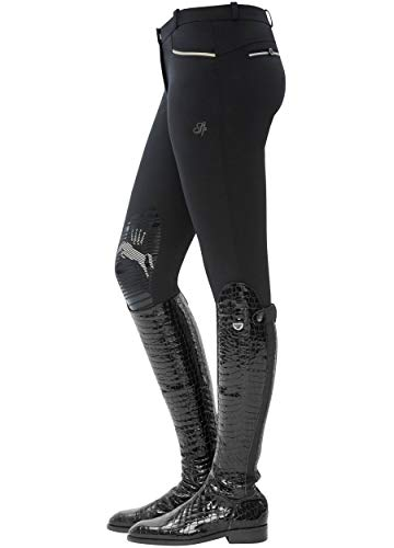 SPOOKS Damen Reithose Kniebesatz, Damenreithose Reithosen Turnierreithose Kniebesatzreithose Reiterhosen - Ricarda Knee Grip, Schwarz M