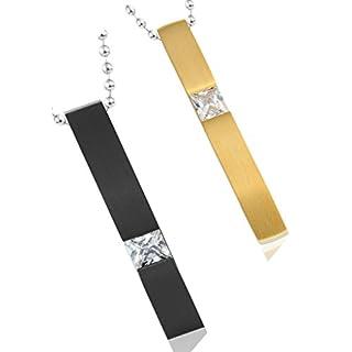 Aienid Unisex Ketten Edelstahl Schwarz und Gold CZ Studded Simple Style Rechteckig mit Zufallskette