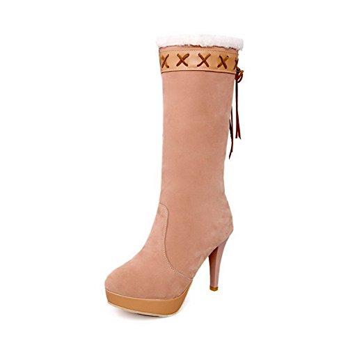 AllhqFashion Damen Rund Zehe Rein Mitte-Spitze Hoher Absatz Stiefel mit Knoten Aprikosen Farbe