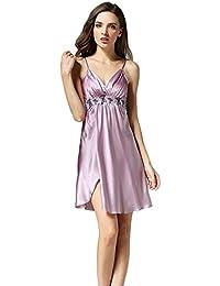94fb08a499 Mujer Vestido De Dormir Elegante Sin Mangas V-Cuello Ropa para El Hogar  Verano Satín Pijamas Mujer Fashion…
