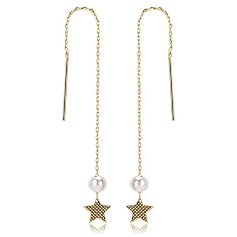 Epinki Gold Plated Earrings, Womens Five Pointed Star Pearl Drop Gold Threader Dangle Earrings