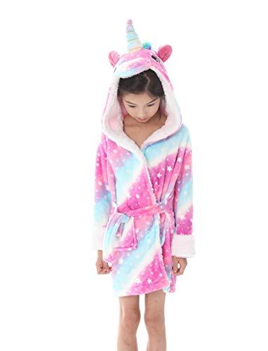 Kostüm Flanell - OKSakady Kinder Einhorn Mit Kapuze Bademantel Flanell Nachtwäsche Morgenmantel Kinder Cosplay Kostüme Pyjama Nachthemd Robe Loungewear Für Mädchen Frau