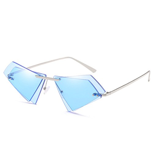QQBL Damen-Mode Doppel-Linse Katzenauge Ozean Scheibe Ohne Rahmen Helle Farbe Spiegel Metall Pc Sichtbares Licht Perspektive 99,9 (%) UV400 Sonnenbrille,Blue