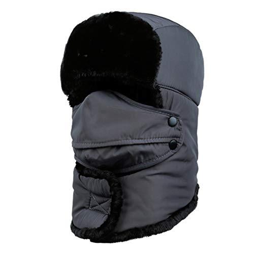 WJBZLN wintermützeWeiblich für Frauen Männer Gesichtsmaske Motorhaube Winddicht Starke Warme Schnee Ski Winter Hut Kappe Earflap, Grau (Schnee-hut Gesichtsmaske Männer)