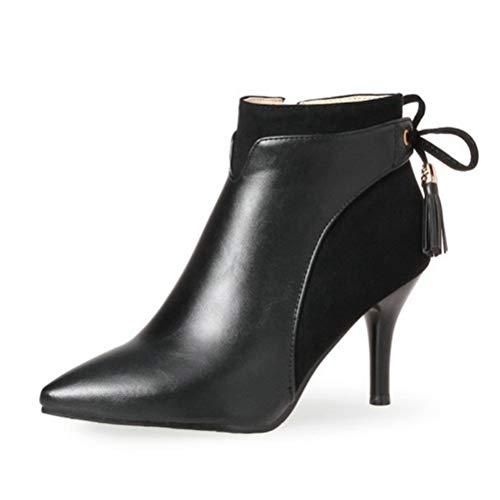 Frauen dünne High Heels Elegante Damen Pumps Spitze Zehe Gericht Schuhe Spike Heels Stilettos Party Stiefeletten mit Bowtie-Knoten -