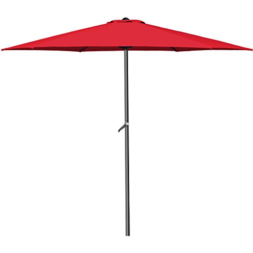 Sonnenschirm Aluminium Ø300cm mit UV-Schutz 40+ inkl. Kurbel + Dachhaube mit Neigevorrichtung rot - Kurbelsonnenschirm Marktschirm Gartenschirm