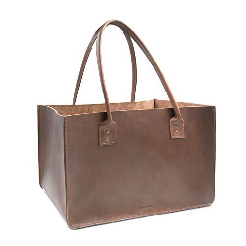 THIELEMANN DALLAS - Bolsa para leña de chimenea, fabricada en piel marrón...