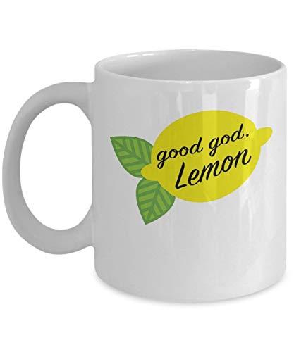 Good God Lemon Coffee Mug Cup (White) 11oz Funny Liz Lemon 30 Rock Tv Show Series Accessories Merchandise Shirt Sticker Decal Art Decor