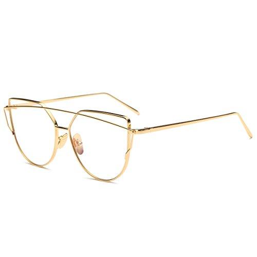 7d8df35bb87b Pro Acme New Fashion Premium Cat Eye Clear Lens Glasses Frame  Non-Prescription (Gold Clear) - Buy Online in KSA. pro acme products in  Saudi Arabia.