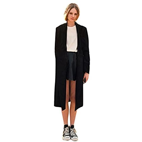 Femme Cardigan, Feixiang exclusif customisation Fashion ouvert avant Trench Long Cape vestes Manteau Cascade Cardigan XXXL noir