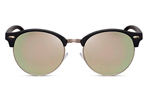 Cheapass Sonnenbrille Verspiegelt Schwarz Rosé-Gold UV-400 Rund-e Brille Damen Herren