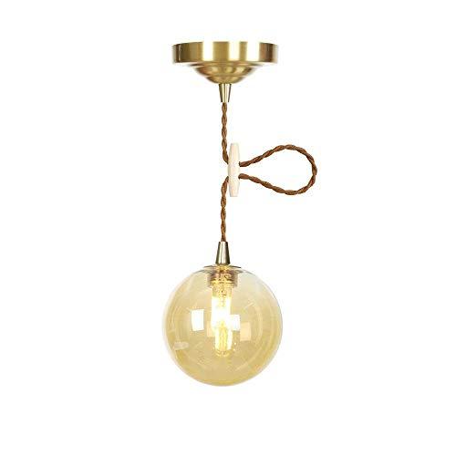LED Round Glass Small Pendant Lights Metal Copper Single Head Hanging Lights Modern Dining Room Bedroom Living Room Indoor Chandelier,Amber -