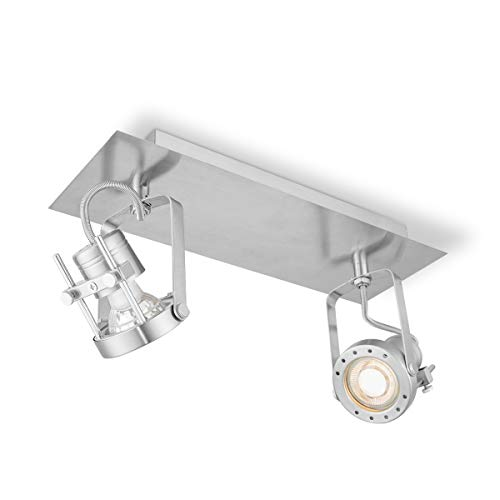 Satin 2l (LED Deckenstrahler LED Wandspotlampe Moderner LED Strahler Neigbar Drehbar um 90º mit 2 x GU10 LED Birne, 5.8W=50W, 345 Lumen, 3000K, 25000 Stunden, ROBO Matte Satin)