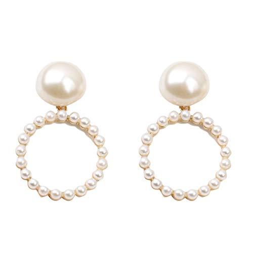 babysbreath17 Mädchen-runde Form-Legierung baumeln Ohrring-Frauen Perle Anhänger Ohrclip-Schmucksachen Souvenirs