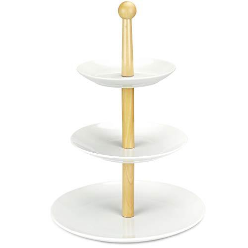 COM-FOUR® Support de rangement en porcelaine à 3 niveaux, hauteur 25,5 cm, pour les pâtisseries, les fruits ou les chocolats, par exemple (01 pièces en porcelaine - hauteur 38,5 cm)