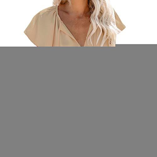 Qmber Ostern Damen Frühling Sommer Casual Loose Fit Kurzarm Fledermaus Batwing T-Shirt Top Bluse Kurzarm Brustkreuz Falten Oberteil Lässiges Top mit V-Ausschnitt/Khaki,S -