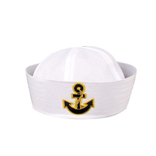 Kostüm Hut Popeye - Culer Weiß Navy Hut Kappe Sailors Schiff Boots-Kapitän Militär-Hut Marine-Uniform Cap Stage Performance-Hut Für Frauen-Männer