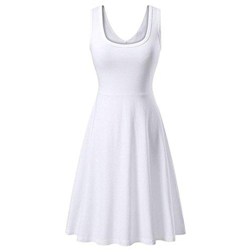 UFACE Ärmelloses Einfarbiges Weste Kleid Frauen Sommer Solid Casual ärmelloses Kleid Outdoor (XL, Weiß)