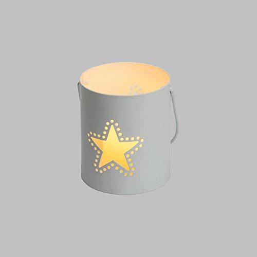 LuminalPark Porta vela Cubito con estrella y vela LED en metal blanco h. 9 cm, temporizador para Decoración de Interiores y Eventos