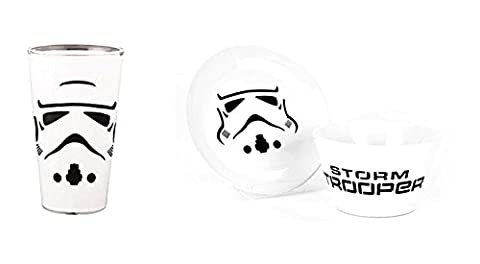 Star Wars Stormtrooper Bowl with side Plate and Glass Set