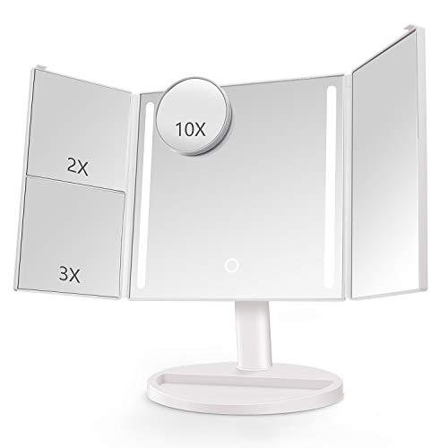 Belle specchio per il trucco led con touch-screen dimmerabile 1x/2x/3x/10x ingrandimento tri-pieghevole specchio di trucco