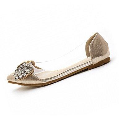 Confortevole ed elegante piatto scarpe donna Appartamenti primavera cadono Comfort similpelle Office & Carriera Abbigliamento Sportivo tacco piatto Strass nastro oro sliver