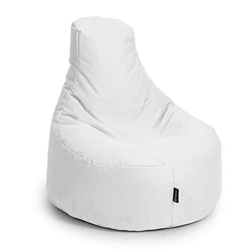 BuBiBag Sitzsack Gamer Playstation Sessel Lounge Kissen original Sitzkissen für In & Outdoor geeignet fertig befüllt mit EPS Styroporfüllung in 31 Farben erhältlich (80cm Durchmesser,Weiß)