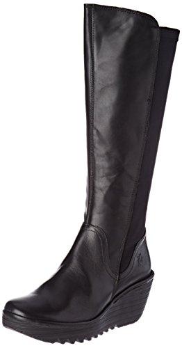 FLY London Damen Yeve779fly Stiefel, Schwarz (Black), 36 EU (High Round Knee Boots Toe)