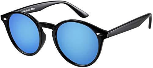 La Optica UV 400 Damen Herren Retro Runde Sonnenbrille Round - Einzelpack Glänzend Schwarz (Gläser: Hellblau verspiegelt)