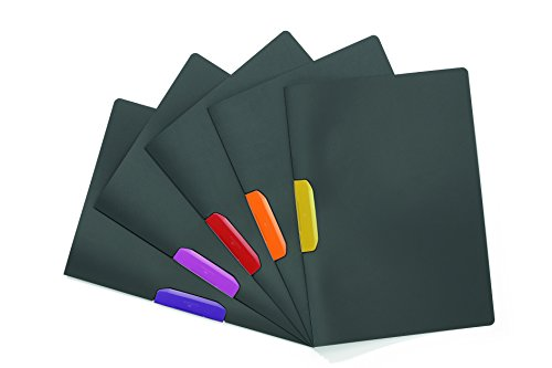 Durable 230400 Klemm-Mappe Duraswing Color (für 30 Blatt DIN A4) Beutel 5 Stück anthrazit mit farbiger Klemme