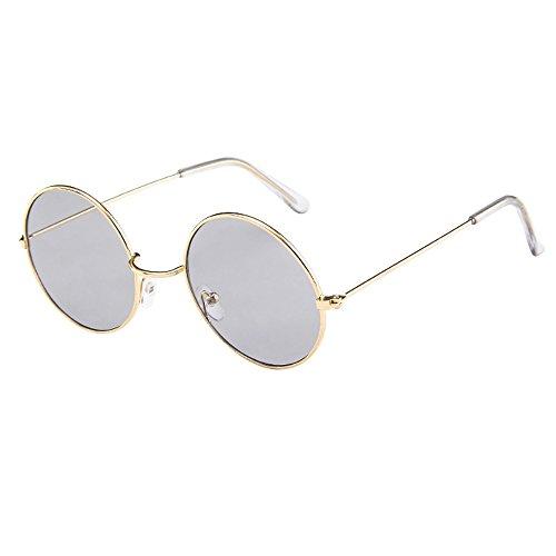 FeiliandaJJ Damen Herren Sonnenbrille Rund Vintage Rahmen Retro Unisex Sunglasses Brillen für Autofahren Reisen Golf Party Outdoor (A)