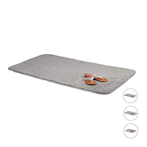 Relaxdays Badteppich, 70x120 cm, flauschiger Badvorleger, rutschfest & waschbar, weicher Duschvorleger, Badematte, grau