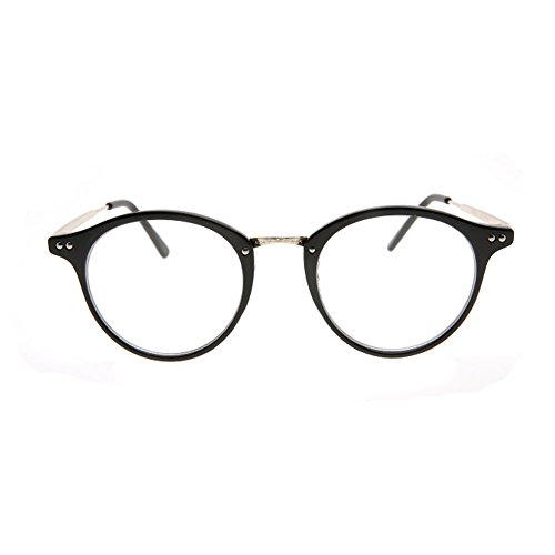 1920s Nerd Brille filigran rund Glasses Klarglas Hornbrille treber 80R90 Black