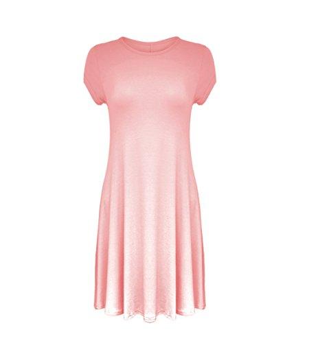 Mesdames Midi à capuchon robe Swing à manches courtes A-Line Patineuse évasée Thé Uni Noir - Rose bébé
