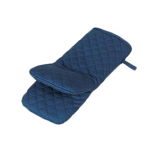 (TINGSU 1 Stück Mikrowellen-Ofenhandschuhe Küche Hohe Temperatur Anti-Kalking Dicke Baumwolle Handschuhe Backen Hitze Ofenhandschuhe (Dunkelblau))