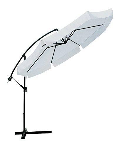 Garden friend ombrellone ø 3 mt x 3h mt braccio laterale struttura in acciaio inclinabile in diverse posizioni. con manovella copertura in poliestere 160 gr/m² colore bianco