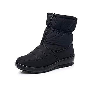 FJJLOVE Frauen Schnee lädt Winter wasserdicht rutschfest Ankle Booties Comfy Warm Ankle Booties Frontreißverschluss Lässige Outdoor-Walking-Schuhe