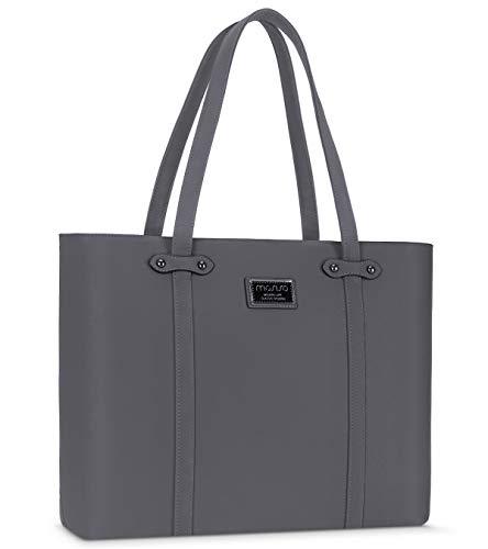 MOSISO Laptop Tote Bag für Frauen, 15.6 Zoll Laptoptasche Premium PU Leder Grosse Kapazität Work Business Travel Computer Aktentasche Handtasche mit DickemStoßfestem Fach & Haltbarem Griff, Space Grau -