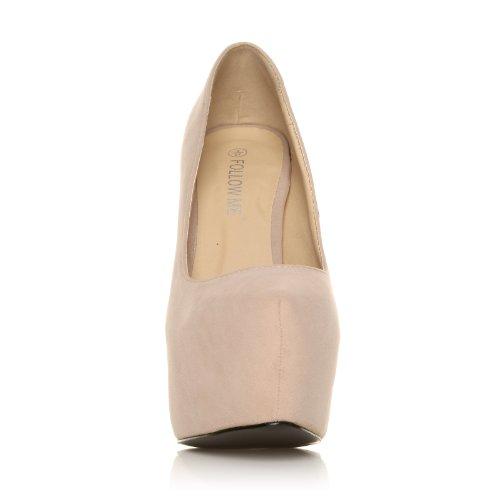 e4f9b7fd68fa0 ... Donna Chaussures À Talons Aiguilles Très Hauts Et Plateaux Decollete,  Daim Synthétique Couleur Daim, Donna