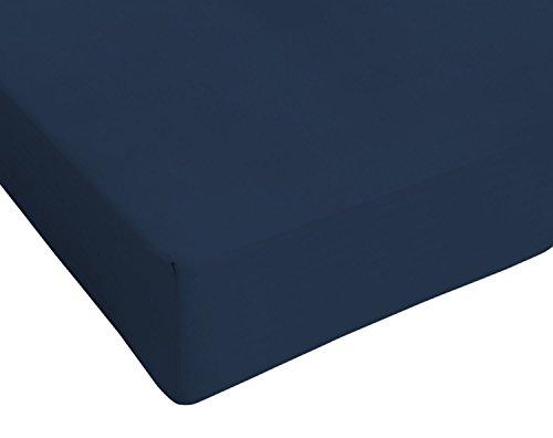 Italian bed linen max color lenzuolo sotto matrimoniale king size, 100% cotone, blu scuro, 180 x 200 cm