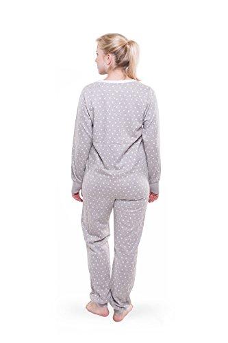 Jumpster Damen Langer Jumpsuit Schlafanzug Sleepster Slim Fit Graue Sterne Grau M - 2